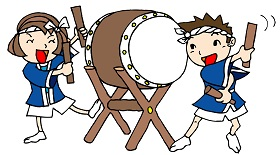 太鼓を叩く