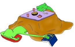 コタツで寝るカエル