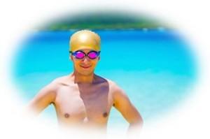 泳ぎ終わった男性
